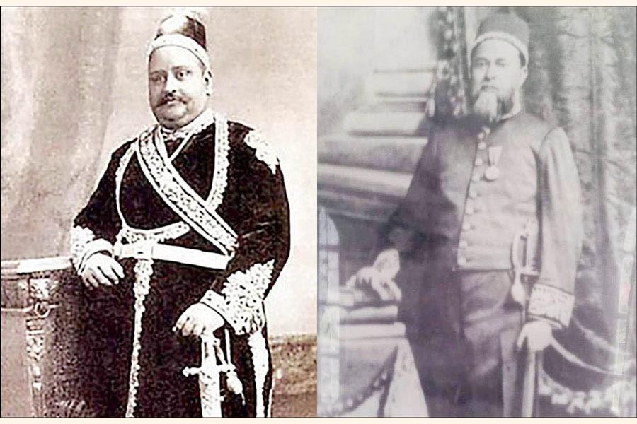 Nawab Salimullah (L) and Nawab Ali Chowdhury (R) played a very important role to establish the Dhaka University. —Photo collected