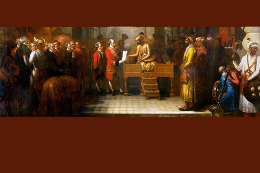 Shah Alam conveying the grant of the Diwani to Lord Clive' by Benjamin West (1765). Bridgeman Images