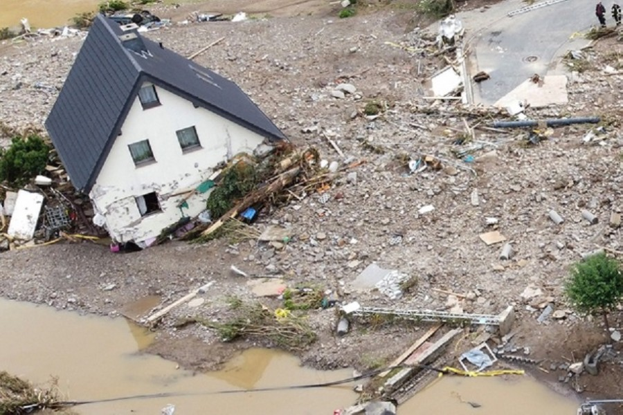 A general view of flood-affected area following heavy rainfalls in Schuld, Germany, on July 15, 2021. Picture taken with a drone. REUTERS/Staff