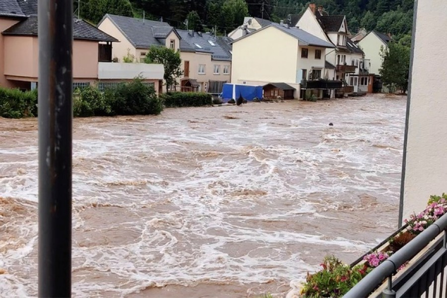 A view of a flooded area in Kyllburg, Germany July 15, 2021, in this picture obtained from social media. TWITTER/@ReneNijholt/via REUTERS