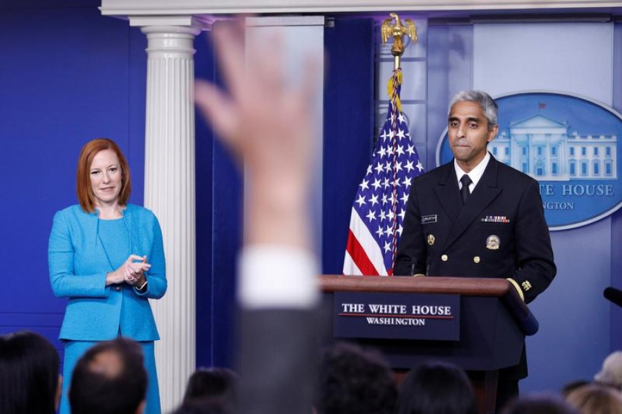 A journalist raises a hand to ask a question during United States Surgeon General Vivek Murthy's remarks at a news conference with White House Press Secretary Jen Psaki at the White House in Washington, US on July  15, 2021 — Reuters photo