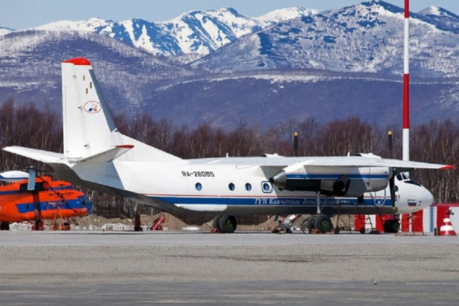 Russian An-26 plane with the tail number RA-26085 is seen in Petropavlovsk-Kamchatsky, Russia in this undated handout image released by Russia's Emergencies Ministry on Jul 6, 2021. REUTERS/FILE