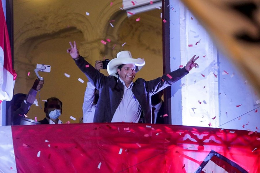 """Pedro Castillo addresses supporters from the headquarters of the """"Free Peru"""" party in Lima, Peru on June 15, 2021 — Reuters/Files"""