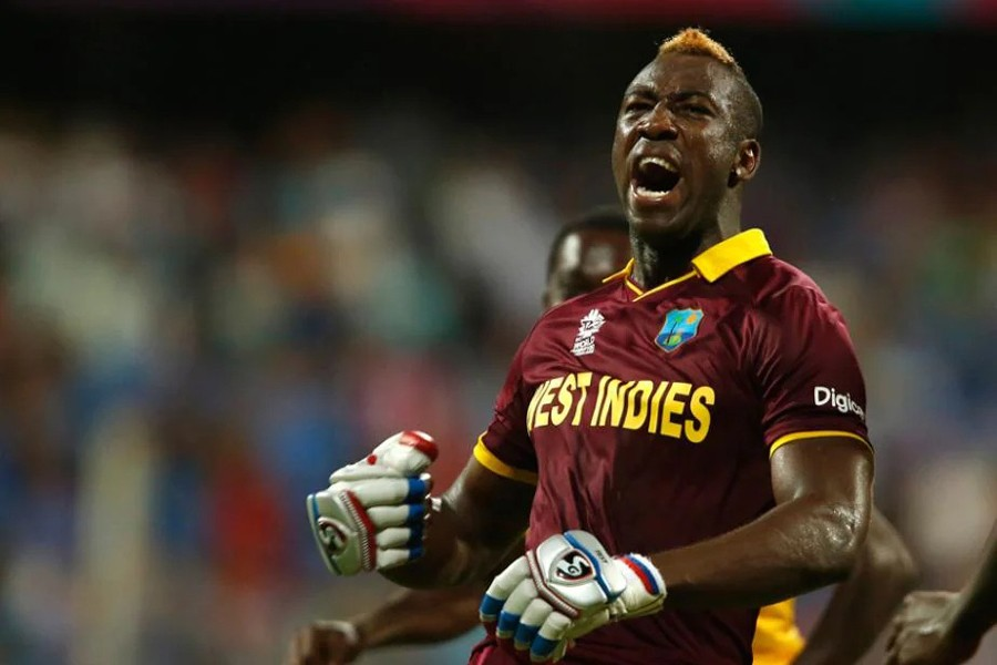 West Indies all-rounder Andre Russell roars after a match winning performance — File photo