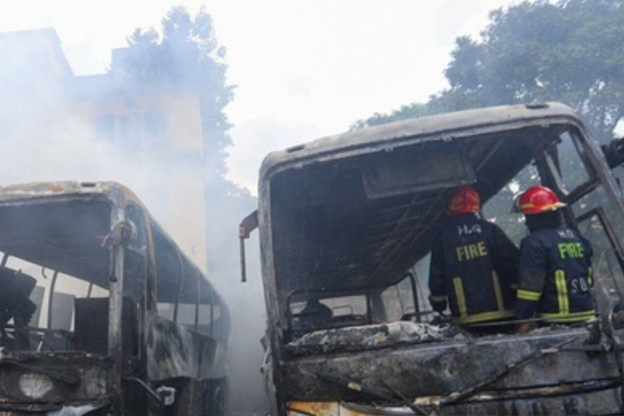 Mysterious fires destroy four Dhaka buses in two days
