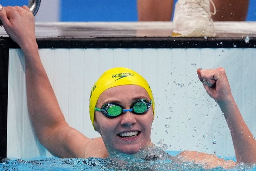 Ariarne Titmus of Australia reacts after winning hersecond gold medal — Reuters photo