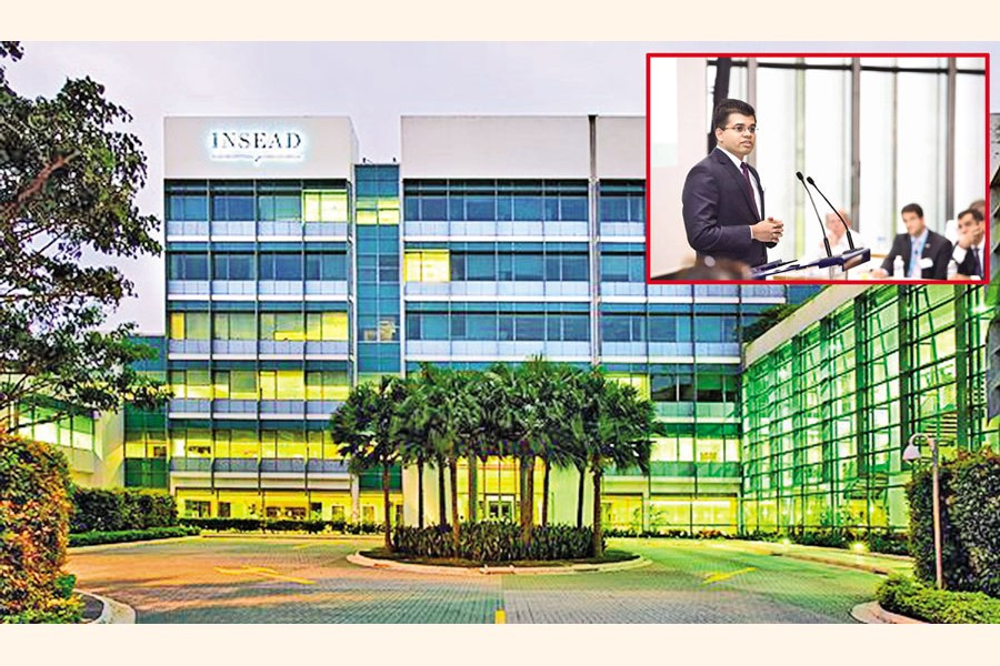 A partial view of INSEAD Asia Campus in Singapore; the writer (inset) making a class presentation