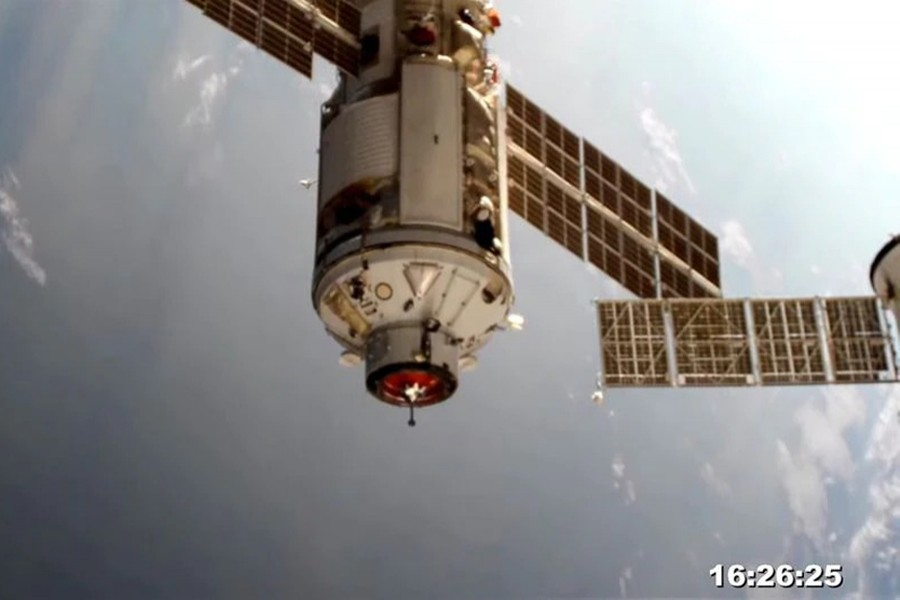 The Nauka (Science) Multipurpose Laboratory Module is seen during its docking to the International Space Station (ISS) on July 29, 2021 in this still image taken from video — Roscosmos/Handout via REUTERS
