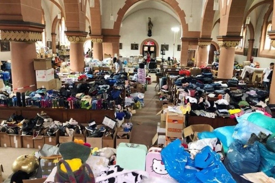 Donations for flood victims lie in the church of St. Nicholas and Rochus in Mayschoss, Germany, July 29, 2021 — Reuters