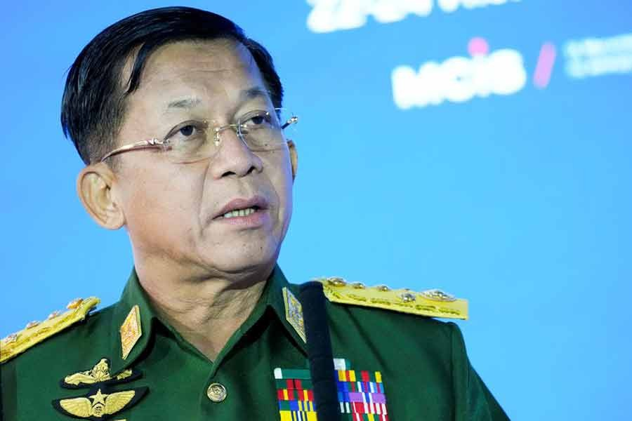 Commander-in-Chief of Myanmar's armed forces, Senior General Min Aung Hlaing delivering a speech at the IX Moscow conference on international security in Moscow on June 23 this year -Reuters file photo