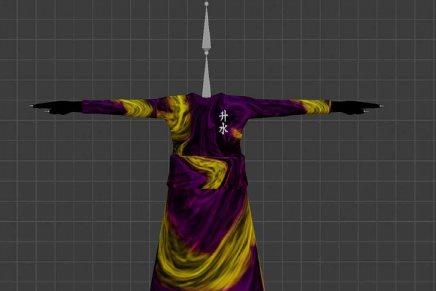 """An undated handout image of virtual clothing piece """"Sacred"""" kimono, a limited wearable item in the digital world of """"Decentraland"""", which according to its creator Hiroto Kai was created to thank collectors who own all of Kais' wearables in their inventory. Hiroto Kai/Handout via REUTERS"""