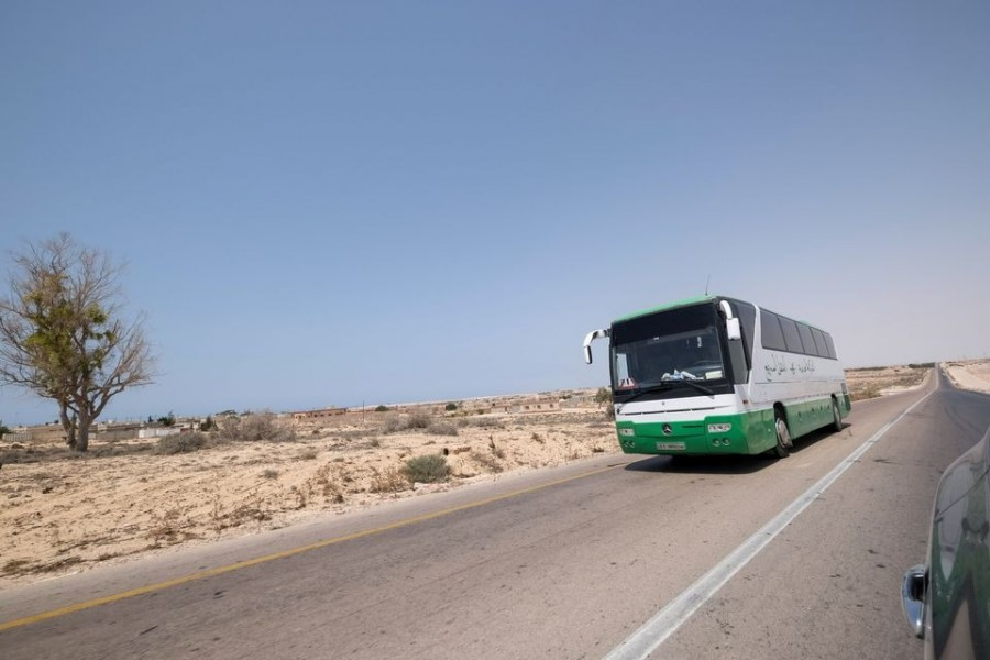 A bus travels towards Tripoli by the newly-reopened coastal road which was cut between the cities of Misrata and Sirte, near Ras Lanuf, Libya on August 10, 2021 — Reuters photo
