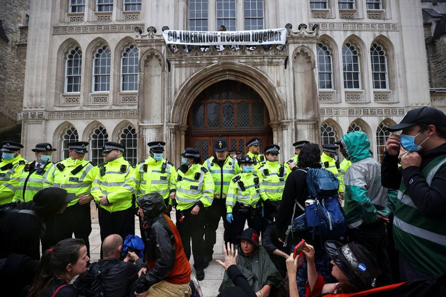 Activists from Extinction Rebellion protest in London. Photo: Reuters