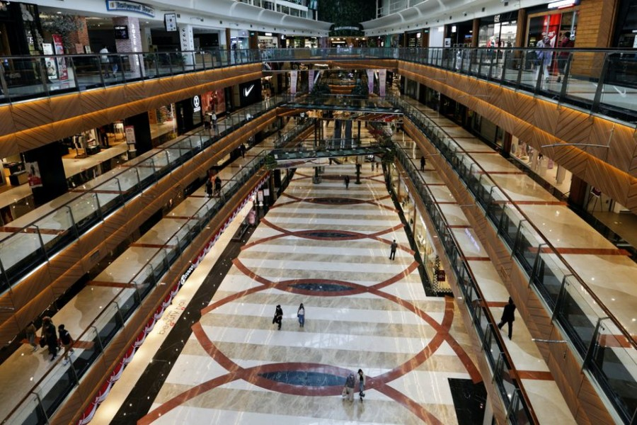 General view inside the Pondok Indah shopping mall as the Indonesian capital reopens its shopping malls with a new policy requiring shoppers to show a coronavirus disease (COVID-19) vaccination certificate, in Jakarta, Indonesia, August 13, 2021. REUTERS/Ajeng Dinar Ulfiana