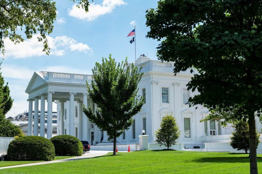 The exterior of the White House is seen from the North Lawn in Washington, US, August 19, 2021. REUTERS/Cheriss May/File Photo