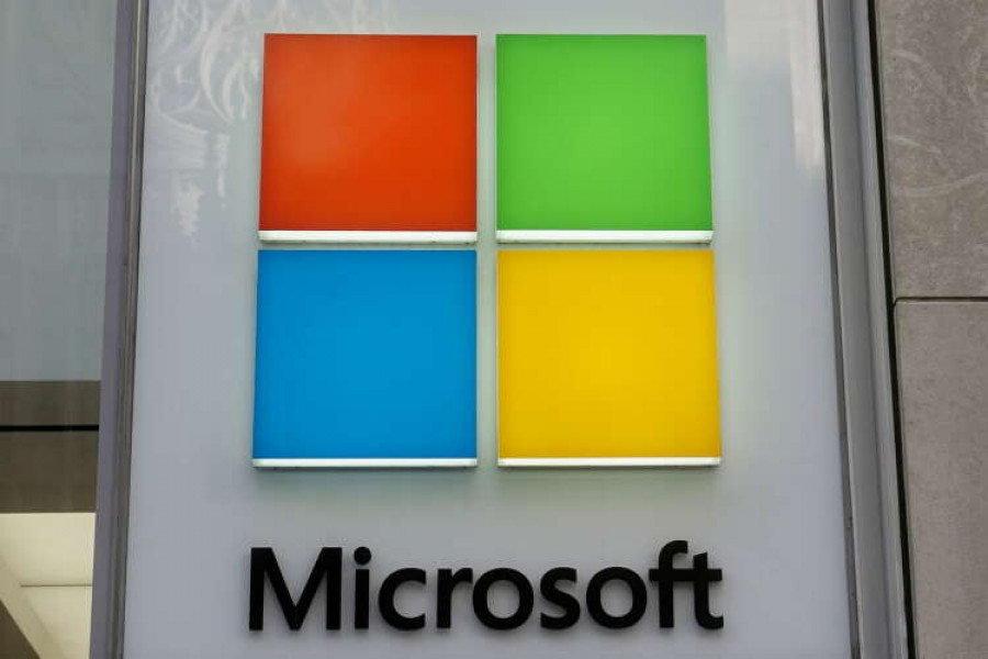 A Microsoft logo is pictured on a store in the Manhattan borough of New York City, New York, US on January 25, 2021 — Reuters/Files