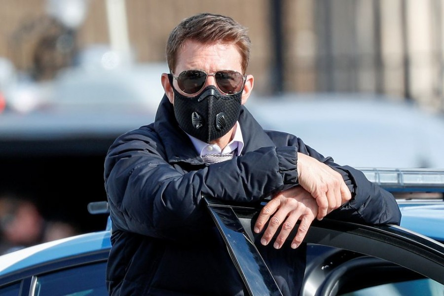 """Actor Tom Cruise is seen on the set of """"Mission Impossible 7"""" while filming in Rome, Italy on October 13, 2020 — Reuters/Files"""