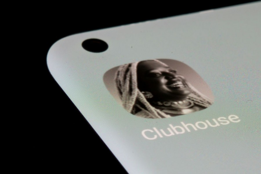 The Clubhouse app is seen on a smartphone in this illustration taken, July 13, 2021. REUTERS/Dado Ruvic/Illustration
