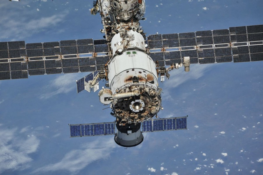 The International Space Station (ISS) photographed by Expedition 56 crew members from a Soyuz spacecraft after undocking, October 4, 2018.NASA/Roscosmos/Handout via REUTERS/File Photo