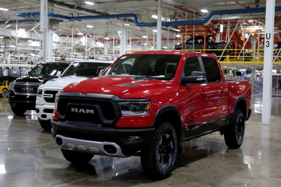 2019 Ram pickup trucks are on display at the Fiat Chrysler Automobiles (FCA) Sterling Heights Assembly Plant in Sterling Heights, Michigan, US, October 22, 2018. REUTERS/Rebecca Cook