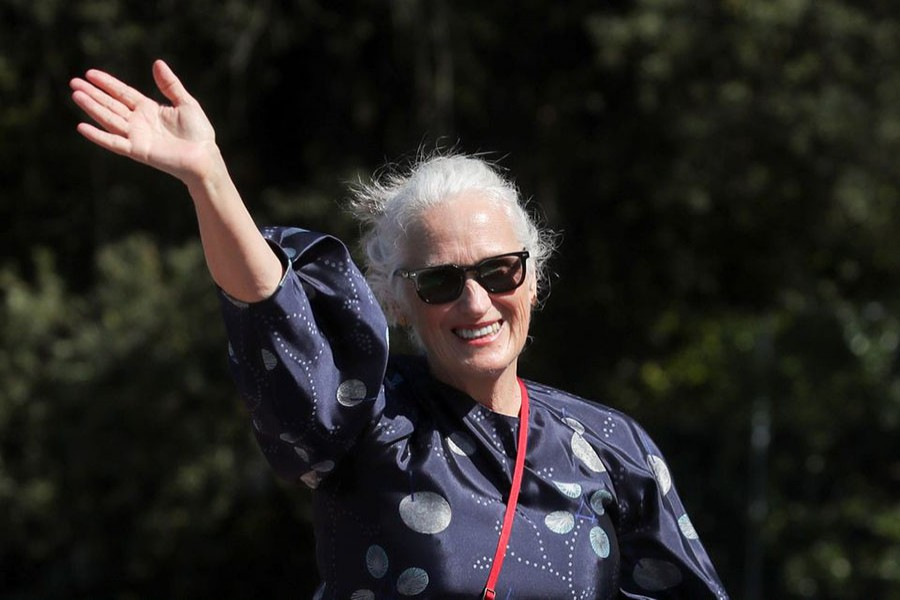 Director Jane Campion waves during the 78th Venice International Film Festival, in Venice, Italy, September 2, 2021. Reuters