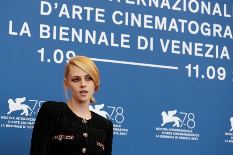 """The 78th Venice Film Festival - Photo call for """"Spencer"""" in competition - Venice, Italy September 3, 2021 - Actor Kristen Stewart poses. REUTERS/Yara Nardi"""