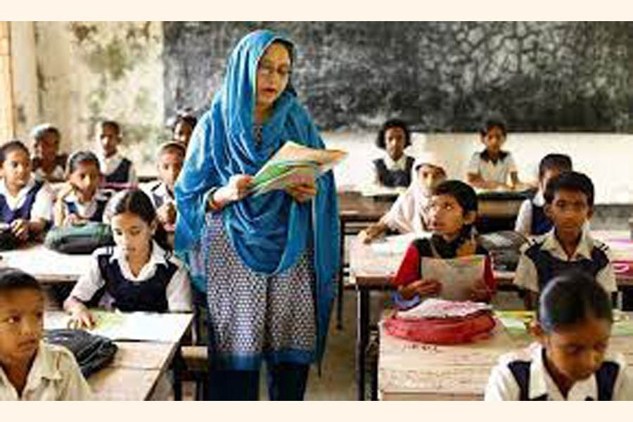A teacher at a class room in school in Bangladesh. —Photo collected