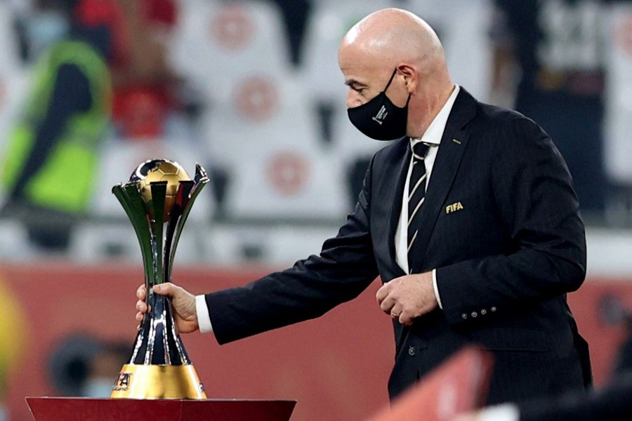 Fifa President Gianni Infantino with the Club World Cup trophy — Reuters/Files