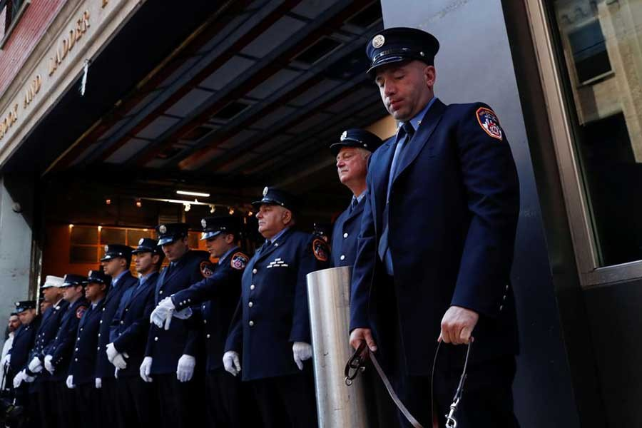 US firefighters attending a ceremony in New York of the United States on Saturday to mark the 20th anniversary of the September 11, 2001 attacks –Reuters Photo
