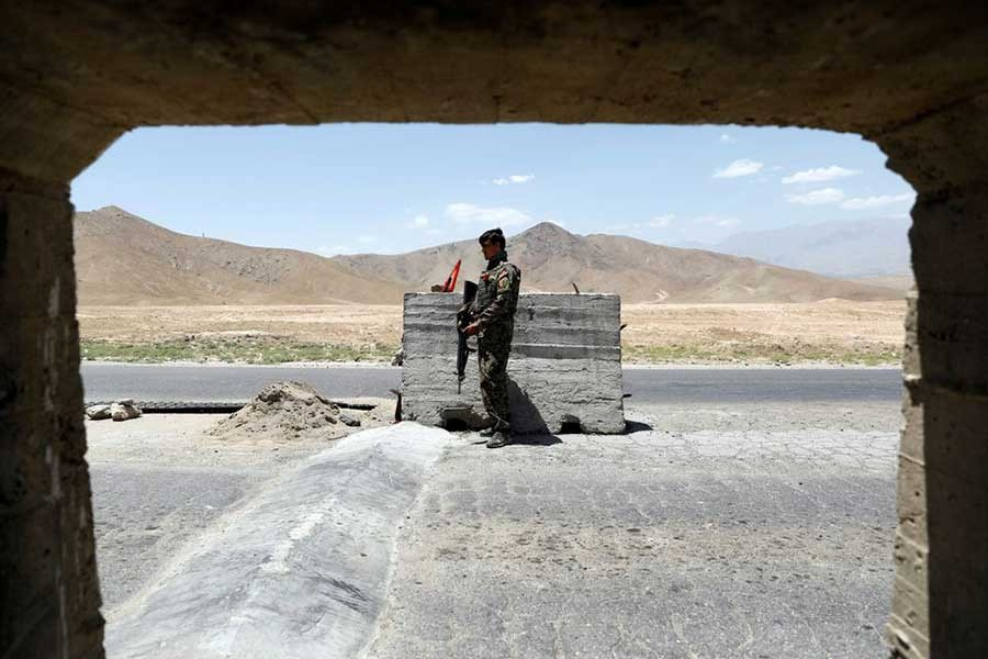 An Afghan National Army soldier standing guard at a check post near Bagram US air base, on the day the last of American troops vacated it, at Parwan province in Afghanistan on July 2 this year –Reuters file photo