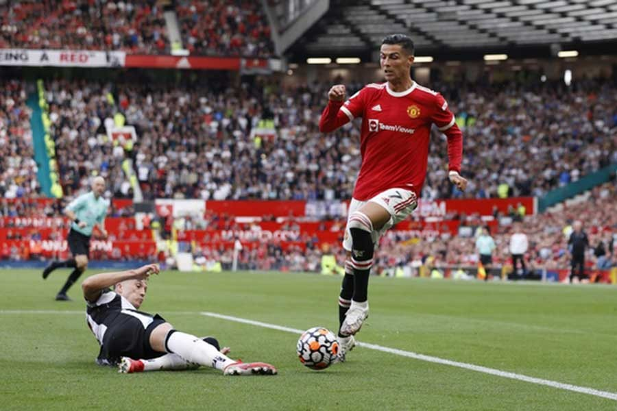 Manchester United's Cristiano Ronaldo in action during a game against Newcastle United at Old Trafford of Manchester in Britain on Saturday –Reuters photo
