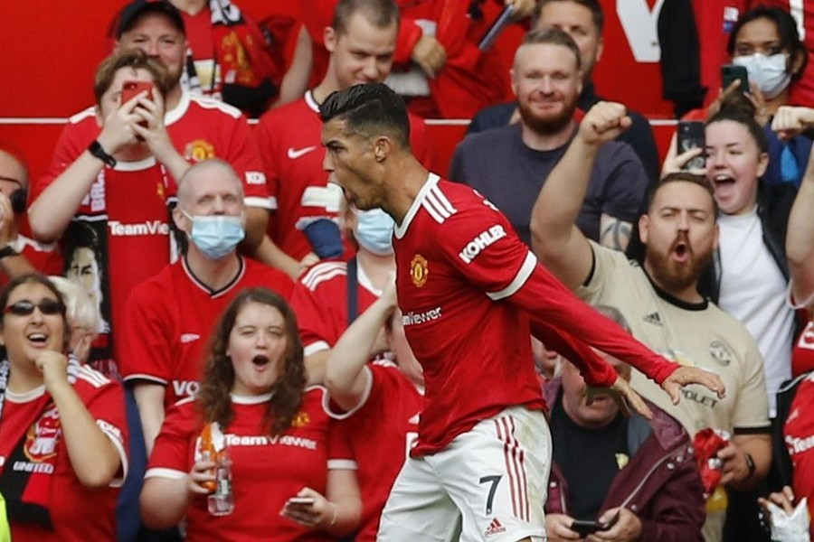 Soccer Football - Premier League - Manchester United v Newcastle United - Old Trafford, Manchester, Britain - September 11, 2021 Manchester United's Cristiano Ronaldo celebrates scoring their first goal — Reuters/Phil Noble