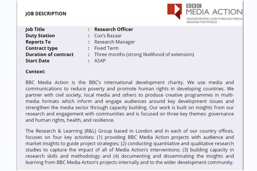 BBC Media Action is looking for Research Officer