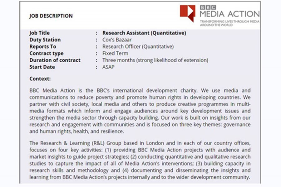 Job opportunity for freshers at BBC Media Action