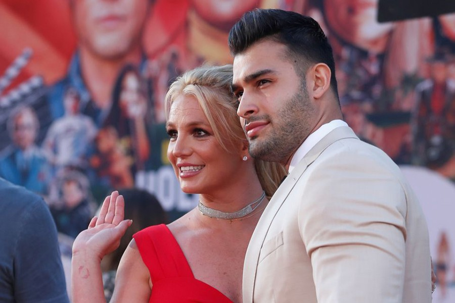 """Britney Spears and Sam Asghari pose at the premiere of """"Once Upon a Time In Hollywood"""" in Los Angeles, California, US on July 22, 2019 — Reuters/Files"""