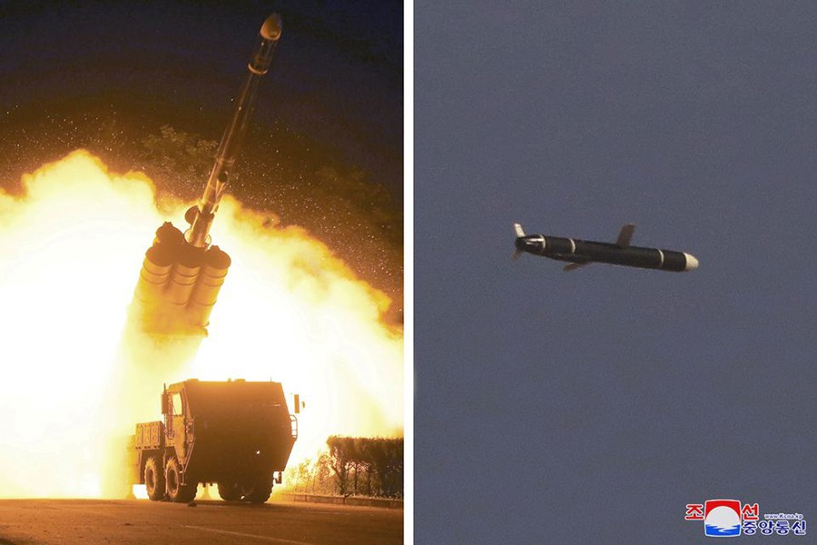 The Academy of National Defense Science conducts long-range cruise missile tests in North Korea, as pictured in this combination of undated photos supplied by North Korea's Korean Central News Agency (KCNA) on September 13, 2021 — KCNA via REUTERS