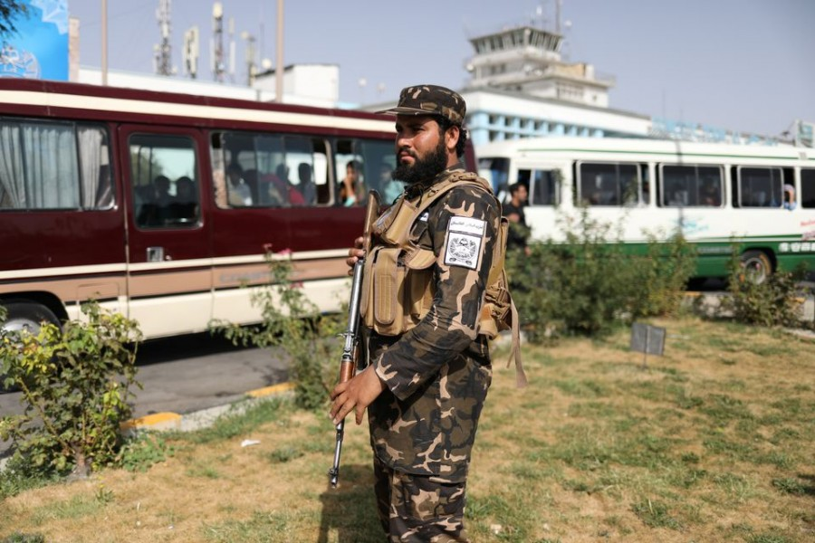 A member of Taliban security forces stands guard at the international airport in Kabul, Afghanistan on September 10, 2021 — West Asia News Agency via REUTERS