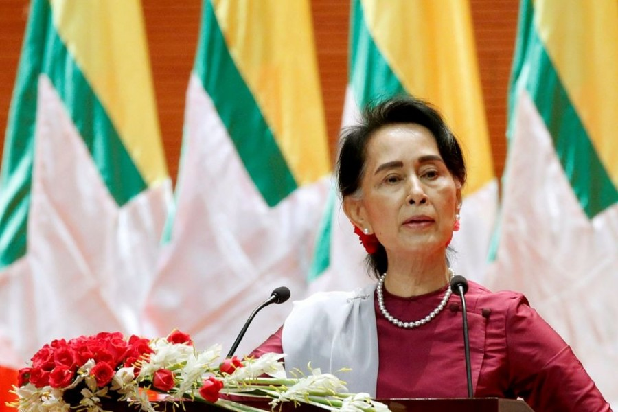 Myanmar State Counselor Aung San Suu Kyi delivers a speech to the nation over Rakhine and Rohingya situation, in Naypyitaw, Myanmar on September 19, 2017 — Reuters/Files
