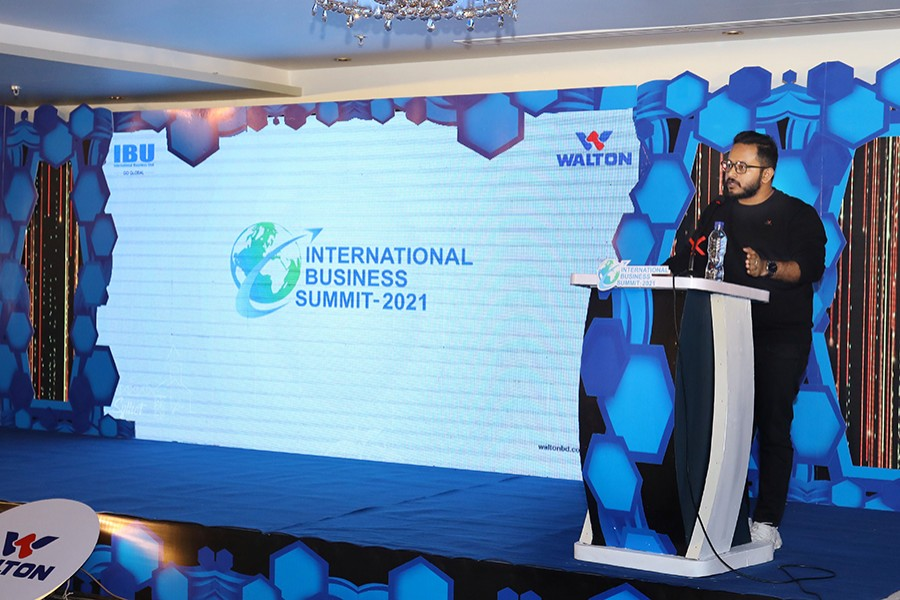 Managing Director and CEO of Walton Hi-Tech Industries Limited Golam Murshed addresses the 'International Business Summit-2021' held at Sreemangal on Monday