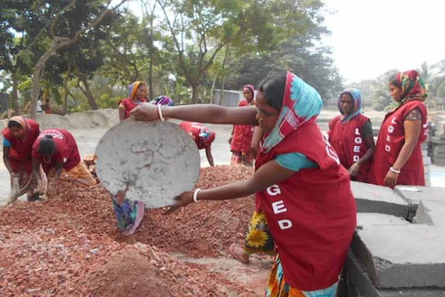 Women labourers engage in a development project in Bangladesh