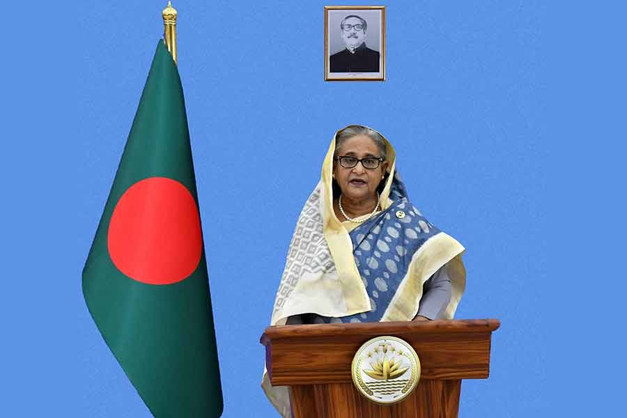 """A pre-recorded speech of Prime Minister Sheikh Hasina was aired in a high-level event titled """"Major Economies Forum on Energy and Climate"""" Summit convened by US President Joe Biden in Washington DC -PID Photo"""