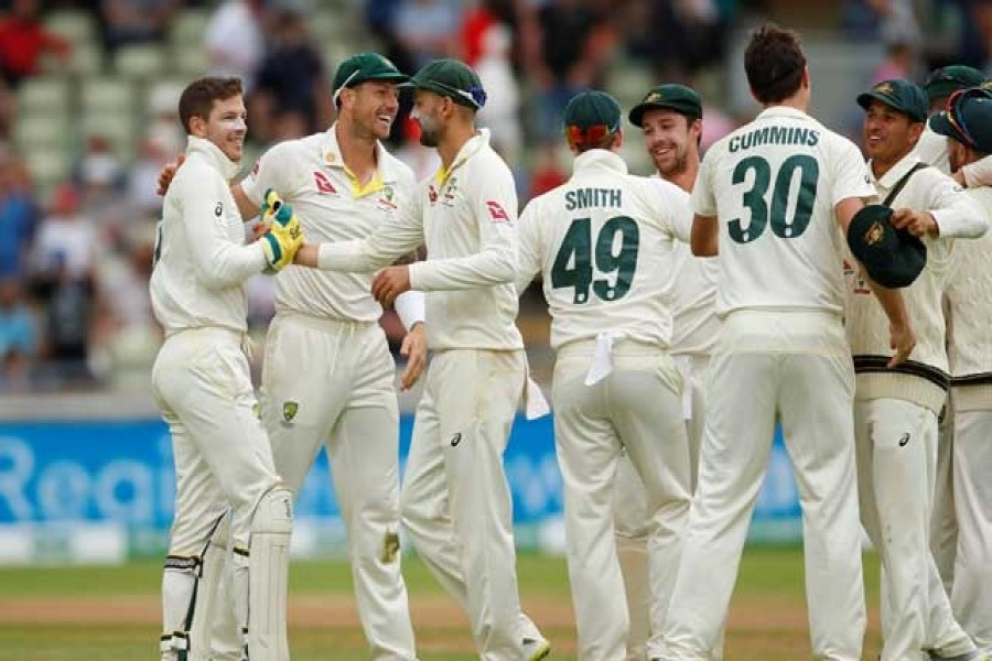 Ashes 2019 - First Test - England v Australia - Edgbaston, Birmingham, Britain - August 5, 2019 Australia players celebrate after winning the first test Action Images via Reuters