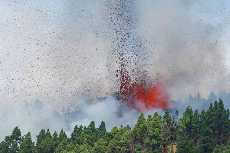 Lava and smoke are seen following the eruption of a volcano in the Cumbre Vieja national park at El Paso, on the Canary Island of La Palma on Sunday -Reuters photo
