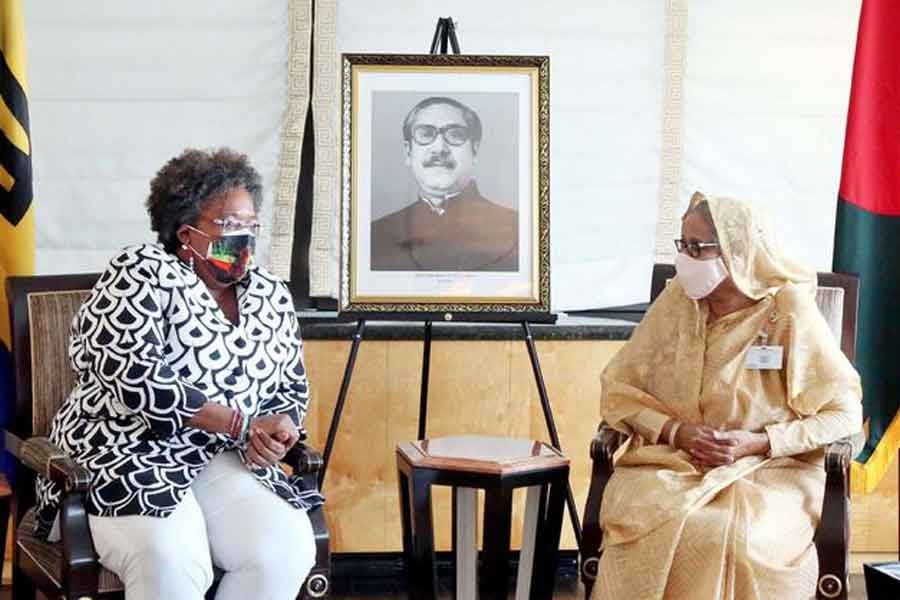 Barbados prime minister pays courtesy call on Sheikh Hasina