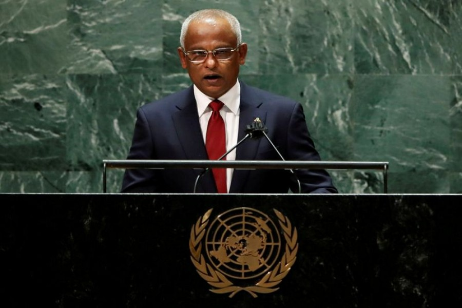 Maldives' President Ibrahim Mohamed Solih addresses the 76th Session of the UN General Assembly in New York City, US, September 21, 2021 –Reuters/Eduardo Munoz/Pool