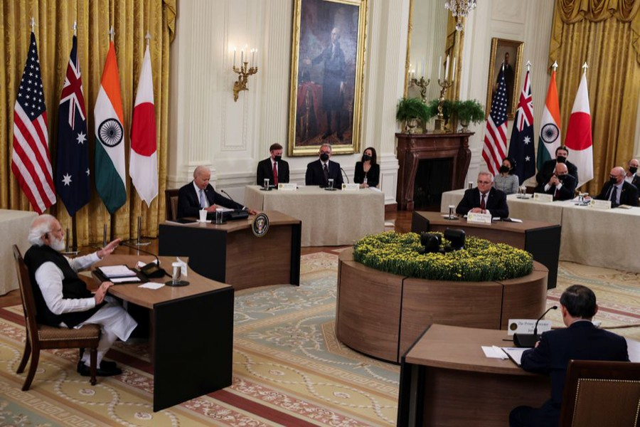 India's Prime Minister Narendra Modi speaks during a 'Quad nations' meeting at the Leaders' Summit of the Quadrilateral Framework hosted by US President Joe Biden with Australia's Prime Minister Scott Morrison and Japan's Prime Minister Yoshihide Suga in the East Room at the White House in Washington, US, September 24, 2021 — Reuters/Evelyn Hockstein