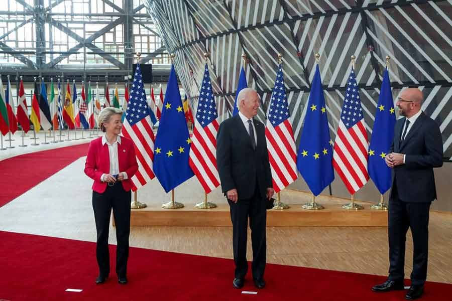 European Council President Charles Michel and European Commission President Ursula von der Leyen posing for photograph with US President Joe Biden during the EU-US summit in Brussels on June 15 this year –Reuters file photo