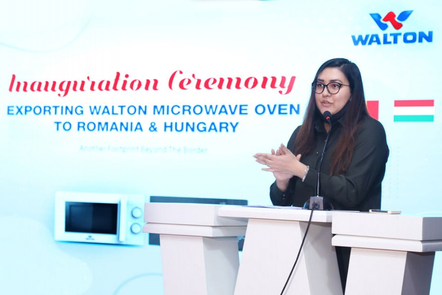 Tahmina Afrose, director of Walton Hi-Tech Industries, announces the inauguration of microwave oven export to Romania and Hungary at a programme held at Walton Corporate Office in the capital on Monday