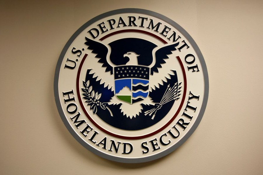 US Department of Homeland Security emblem is pictured at the National Cybersecurity & Communications Integration Center (NCCIC) located just outside Washington in Arlington, Virginia September 24, 2010. REUTERS/Hyungwon Kang