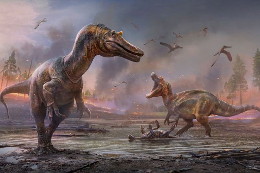 The meat-eating dinosaurs Ceratosuchops inferodios, in the foreground, and Riparovenator milnerae, in the background are seen in an undated artist's rendition. Fossils of these two Cretaceous Period dinosaurs were discovered on England's Isle of Wight — Handout via REUTERS